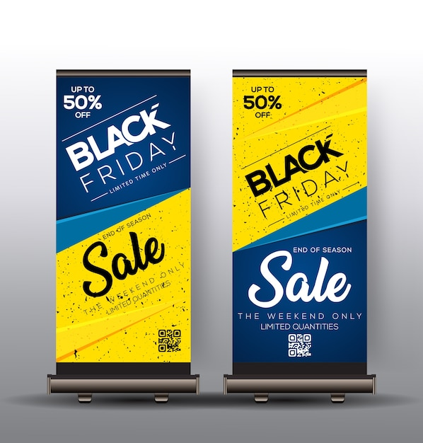Roll up template design with black friday sales Premium Vector