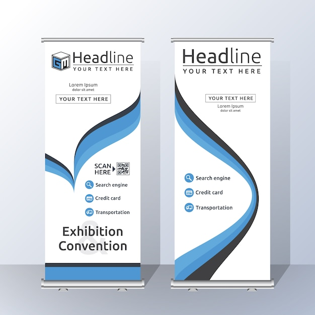 roll up template design vector free download