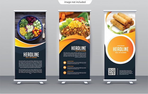 Roll up template Premium Vector