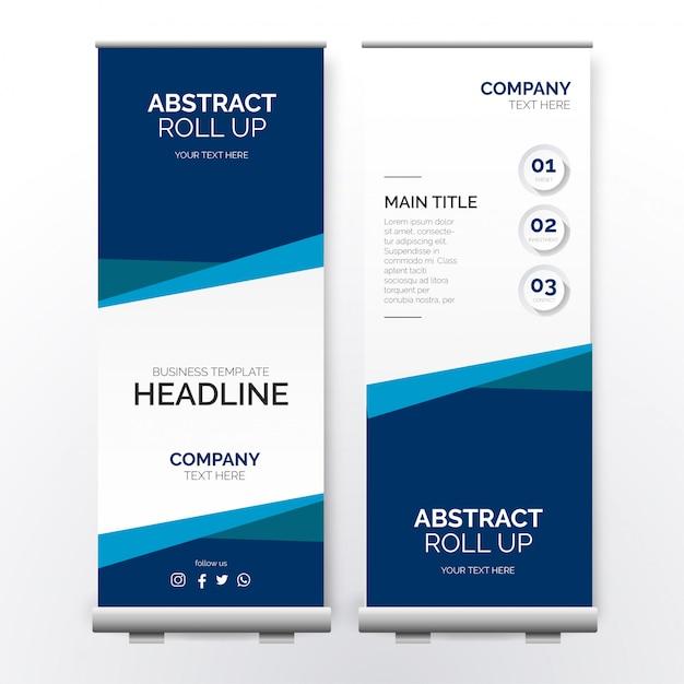 Современный бизнес roll up баннер с бумажными фигурами Бесплатные векторы