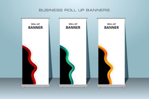 Современный roll up баннер. шаблон вертикального баннера. Premium векторы