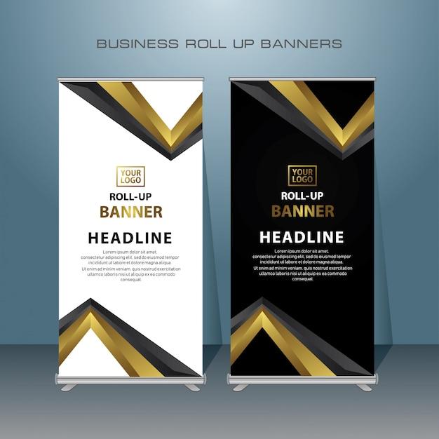 Креативный дизайн баннера roll up в золотом цвете Premium векторы