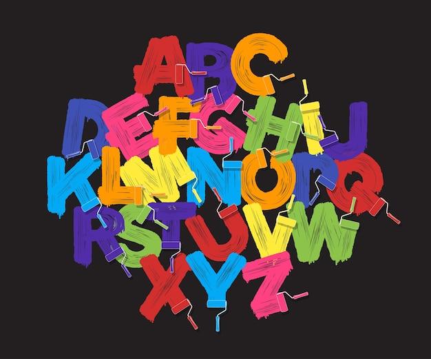 Roller brush alphabet font set. bright colors paint rollers on black background Premium Vector