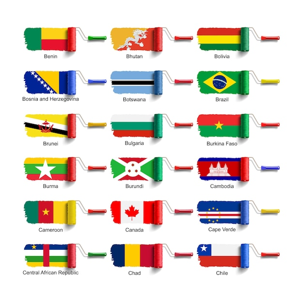 Roller brush with national flag Premium Vector