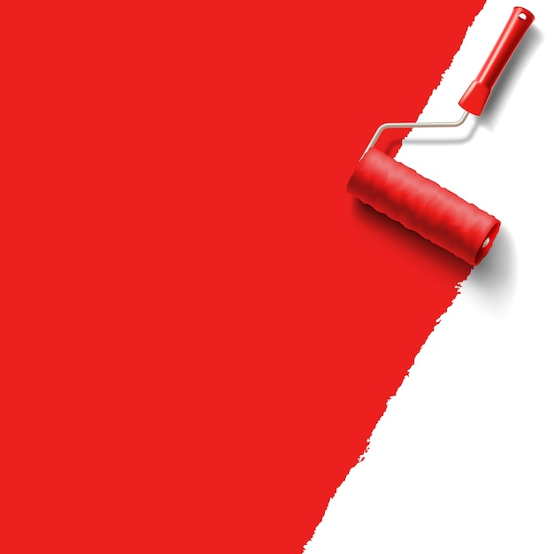 Roller brush with red paint Premium Vector