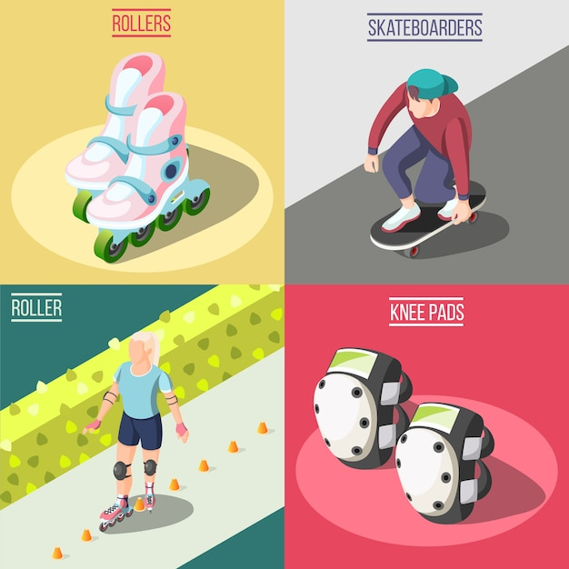 Roller and skateboarders concept illustration Free Vector