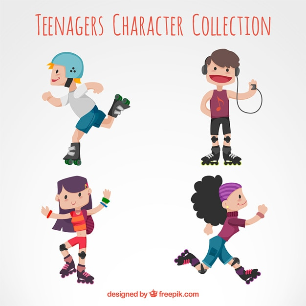 Roller skater teenagers character collection Free Vector