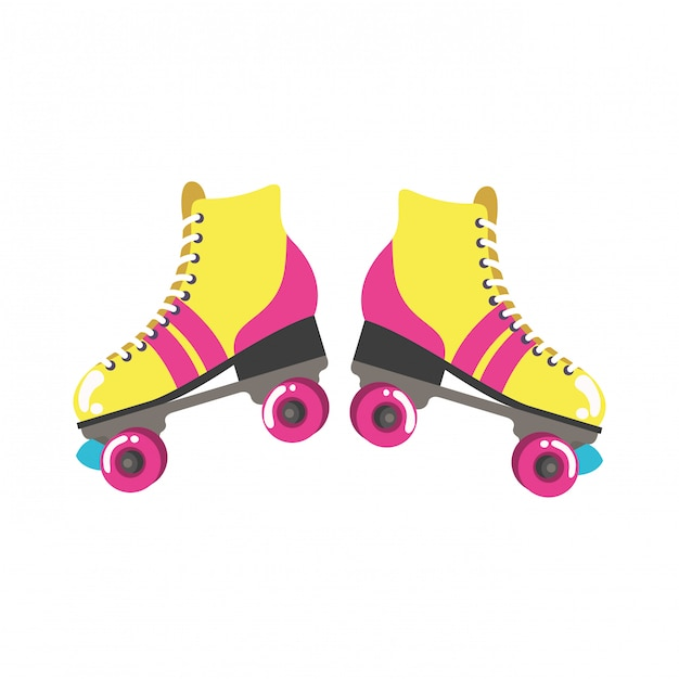 Roller skates pop art icon Premium Vector