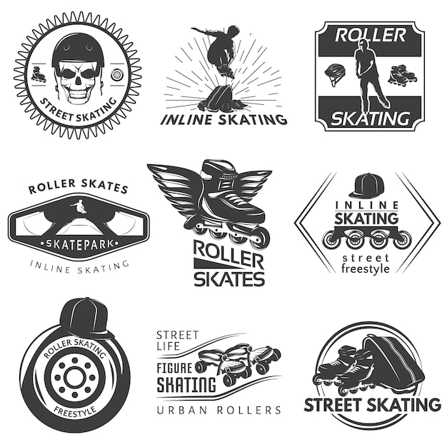 Roller skating black white labels Free Vector