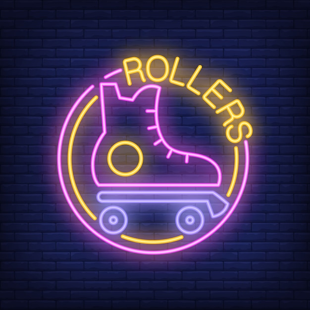 Rollers neon word with roller skate logo. neon sign, night bright advertisement Free Vector