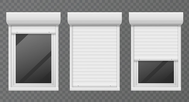 Rolling shutters. windows roller blind metal frame, white jalousie, facade house safety office window  set Premium Vector