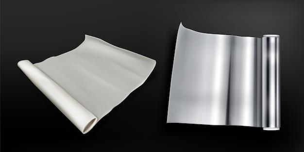 Рулоны алюминиевой фольги и бумаги для выпечки изолированы Бесплатные векторы