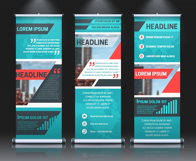 Rollup banners template with business presentation design template Free Vector