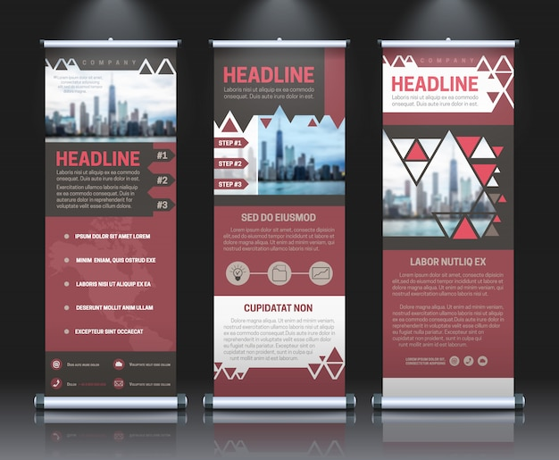 Rollup banners template with business presentation Free Vector