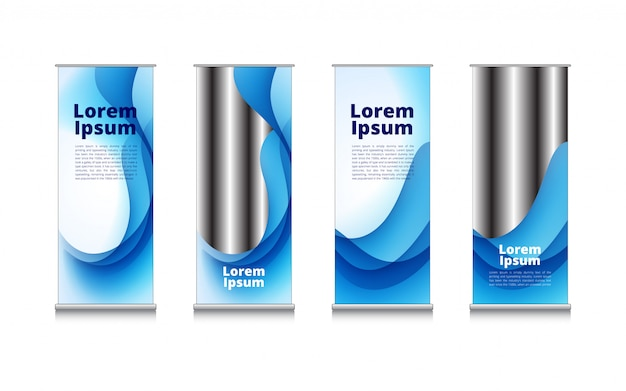 Rollup blue white wave water abstract background Premium Vector
