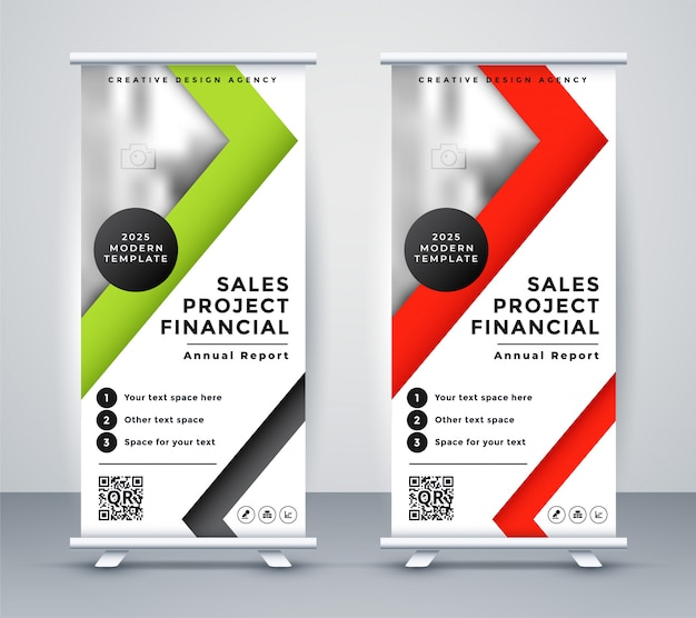 Rollup business banner in geometric red and green design Free Vector