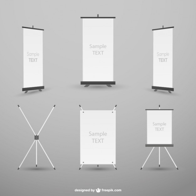 Rollup mockup collection Free Vector
