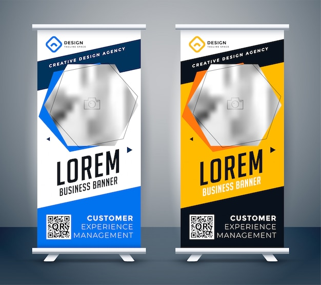 Rollup presentation banner in modern creative style Free Vector