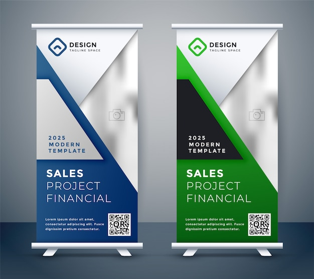 Rollup standee presentation business banner Free Vector