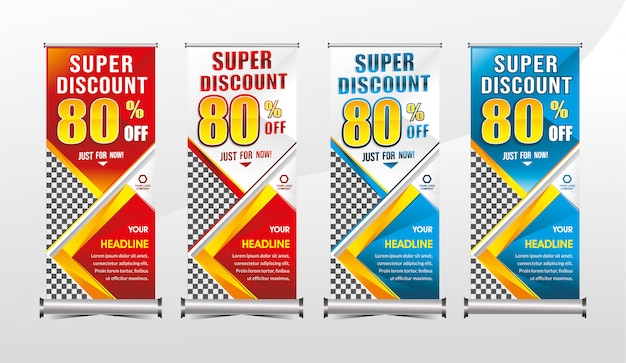 Rollup or standing x-banner template super special offer sale discount set Premium Vector