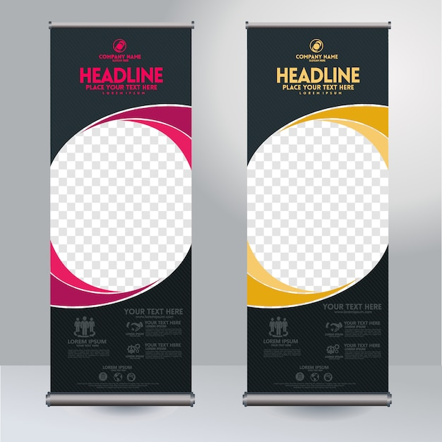 Rollup xbanner design vertical template with abstract rounded shapes and transparent copyspace for photo, modern display Premium Vector