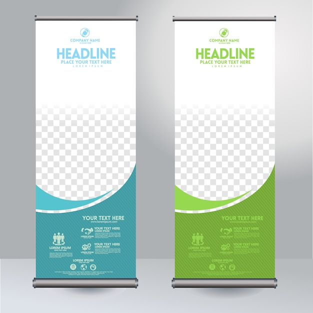 Rollup xbanner design vertical template with flow lines and transparent copyspace for photo, modern display Premium Vector