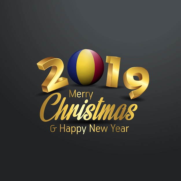 Romania flag 2019 merry christmas typography Premium Vector