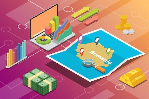 Romania isometric business economy growth country Premium Vector