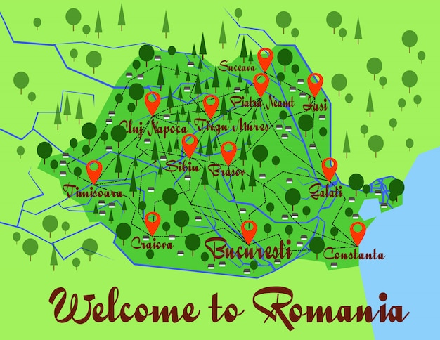 Romania map country infographics Premium Vector