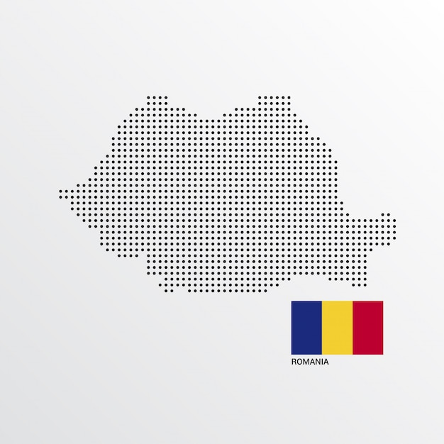 Romania map design with flag and light background vector Free Vector