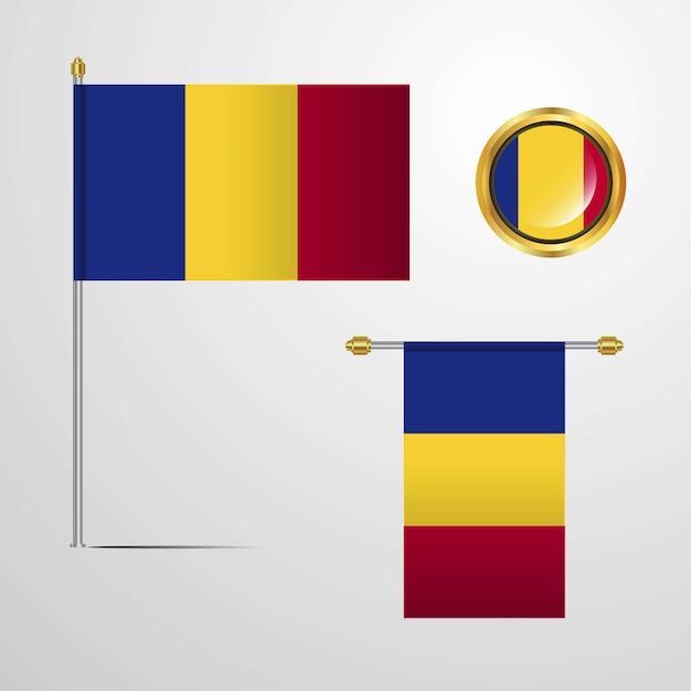 Romania waving flag design with badge vector Premium Vector