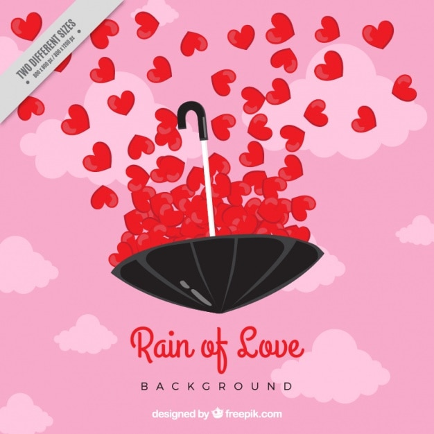 Romantic background with red hearts and umbrella Free Vector