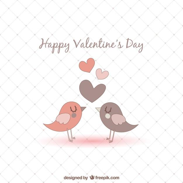Romantic birds Valentines card Vector – Bird Valentine Card