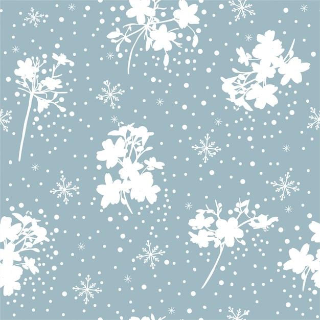 ロマンチックな青と白の雪のフレークと冬の花のシームレスなパターンベクトル、ファッション、ファブリック、壁紙、包装、すべてのプリントのデザイン Premiumベクター