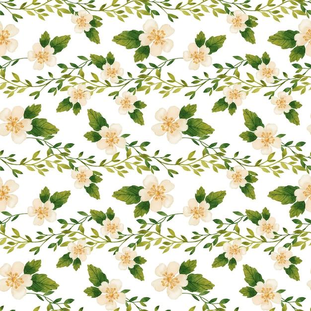 흰색 바탕에 낭만적 인 지점과 개화 꽃 원활한 패턴 수채화 프리미엄 벡터