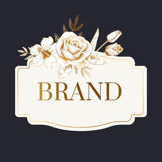 Romantic brand label Free Vector