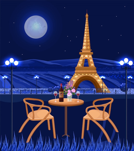 Romantic cafe with eiffel tower at night Premium Vector