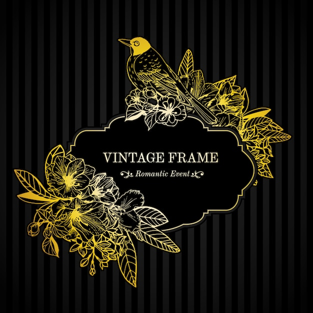 Romantic card gold engraving Free Vector