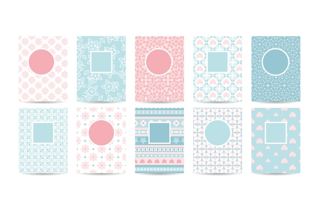 Romantic card templates with pink patterns Premium Vector
