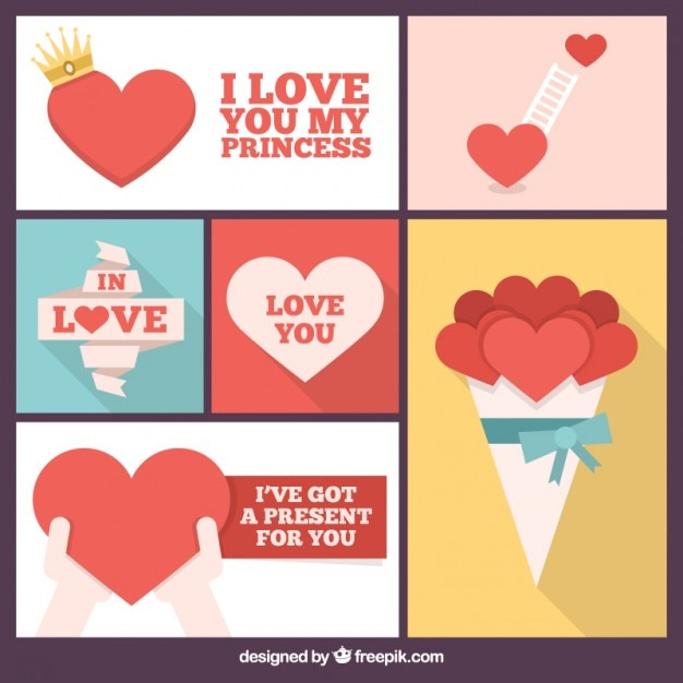 Romantic Collage Of Hearts Vector