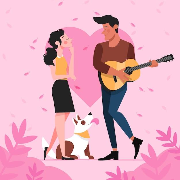 ロマンチックなカップルのイラスト Premiumベクター