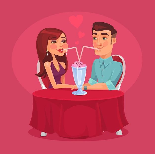 Романтическая пара в кафе. векторная иллюстрация плоский Premium векторы