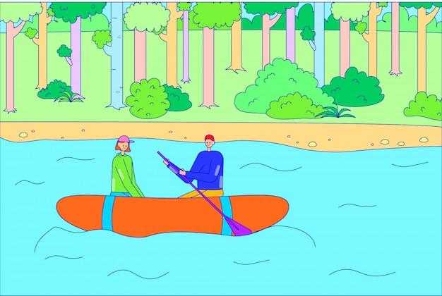 ロマンチックなカップルの男性女性キャラクター降下不可抗ボート川、人々フロートいかだとボートオール湖ラインイラストアート。 Premiumベクター