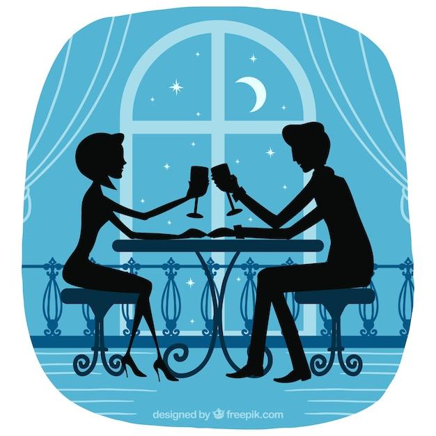 Romantic couple silhouette Free Vector