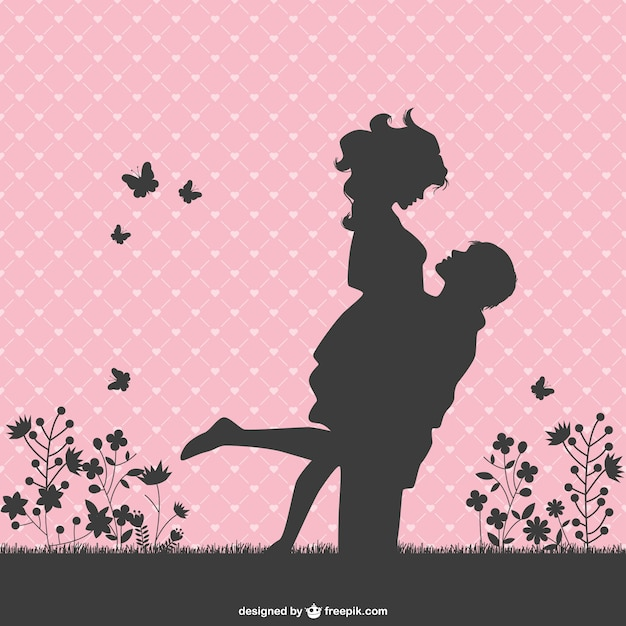 Romantic couple silhouettes Free Vector