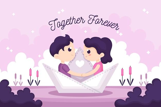 Romantic couple valentine's day background Free Vector