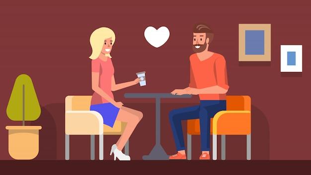 Romantic date in cafe Premium Vector
