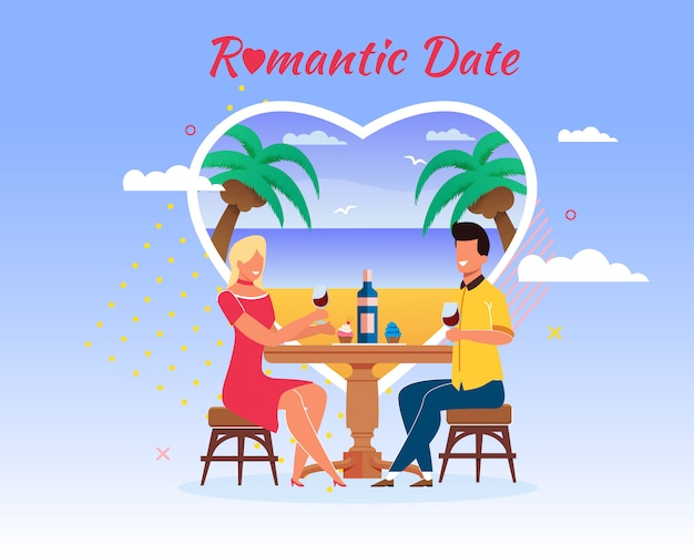 Romantic date cartoon man and woman at restaurant table drink Premium Vector