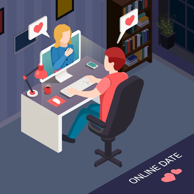 Romantic date online isometric composition Free Vector