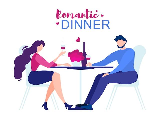 Romantic dinner cartoon man woman restaurant table Premium Vector